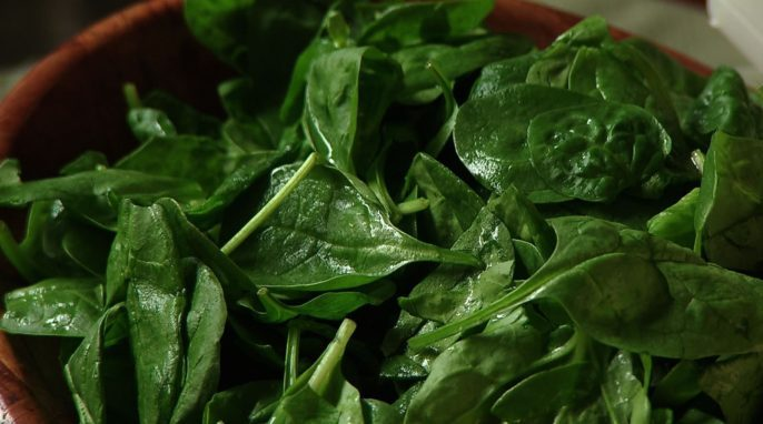 Spinach, iron, and fiber