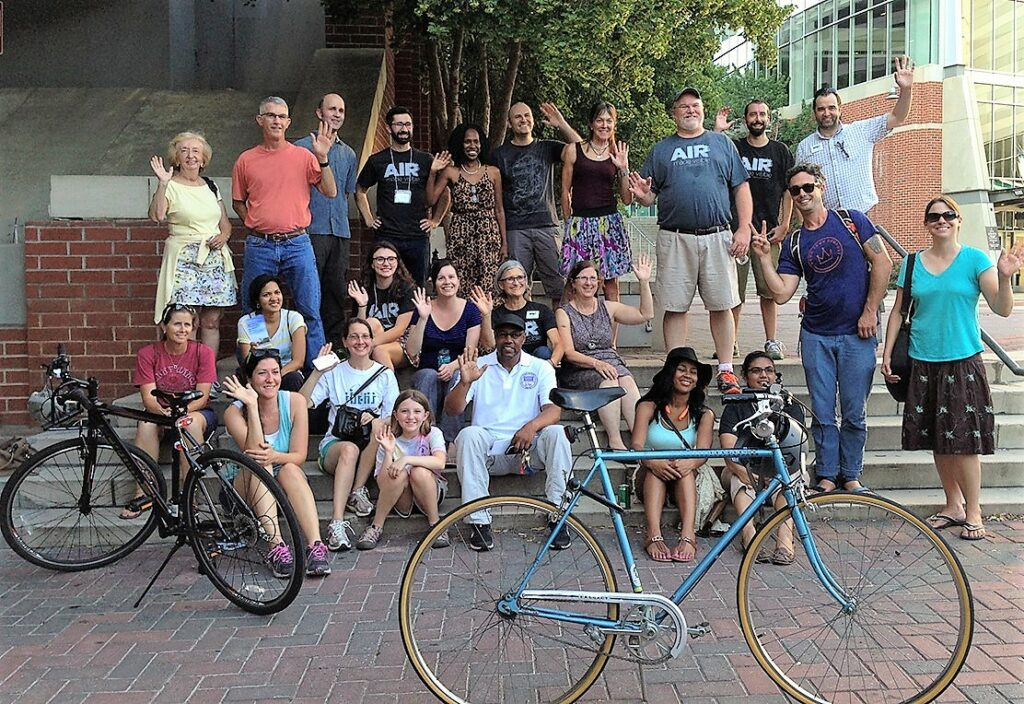 Monitoring air quality as a community: The very first AirKeepers Citizen Science event held in Uptown Charlotte in July 2016. AirBeams were used to canvas the city in each ward, and on multiple modes of transport. After, the volunteers mapped the data and shared pizza. (Credit: Clean Air Carolina)
