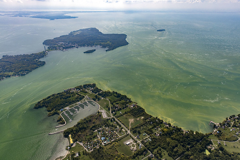 Harmful algal blooms in Lake Erie (Photo Credit: Aerial Associates Photography, Inc. by Zachary Haslick)