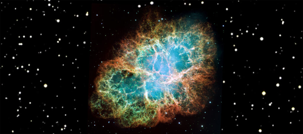Where do heavy elements come from? The Crab-Nebula (M1), a six light-year-wide remnant of a supernova recorded in 1054 A.D. This image was assembled from 24 Wide Field and Planetary Camera exposures take in October 1999, January 2000, and December 2000. Blue in the filaments represents neutral oxygen, green is singly-ionized sulfer, and red is double-ionized oxygen. Image credits: NASA, ESA J. Hester and A. Loll (Arizona State University), W. Blair and R. Sankrit (Johns Hopkins University), and P.Scowen (Arizona State University). D. de Martin (www.skyfactory.org, Venice, Italy) also helped in the creation of this image.