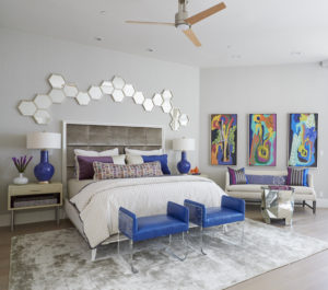 Bold and colorful, contemporary master bedroom in New Orleans