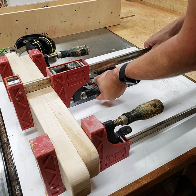 forming the feet of the lathe stand