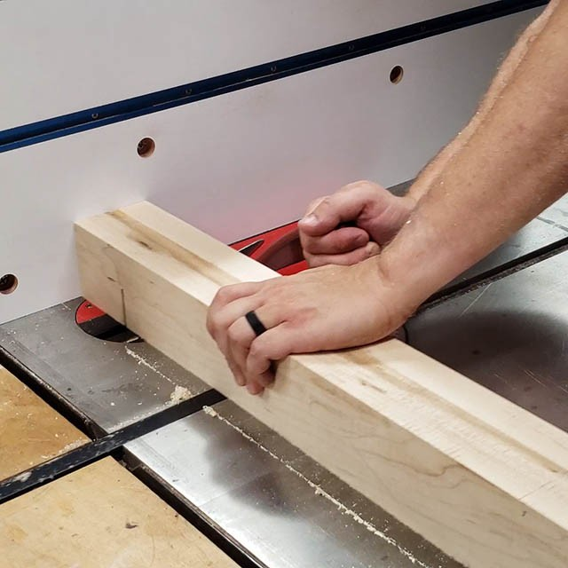 cutting joinery in the legs of the lathe stand
