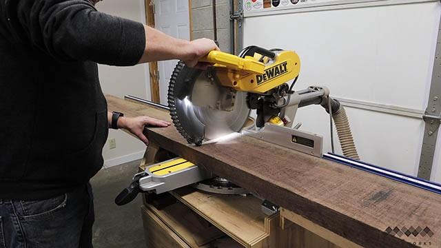 cutting rough lumber