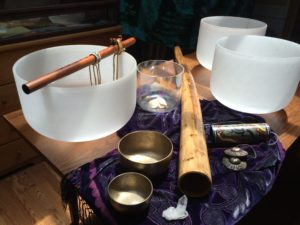 pic of crystal bowls, didg, flute