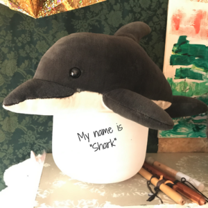 "Pic of stuffed dolphin named ""Shark"" in Elaina's studio atop a crystal bowl"
