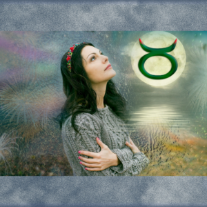 woman dreamily looking up to Taurus symbol