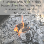 If something comes to light in others because of you, then you have made an approach toward immortality. ~Norman Cousins
