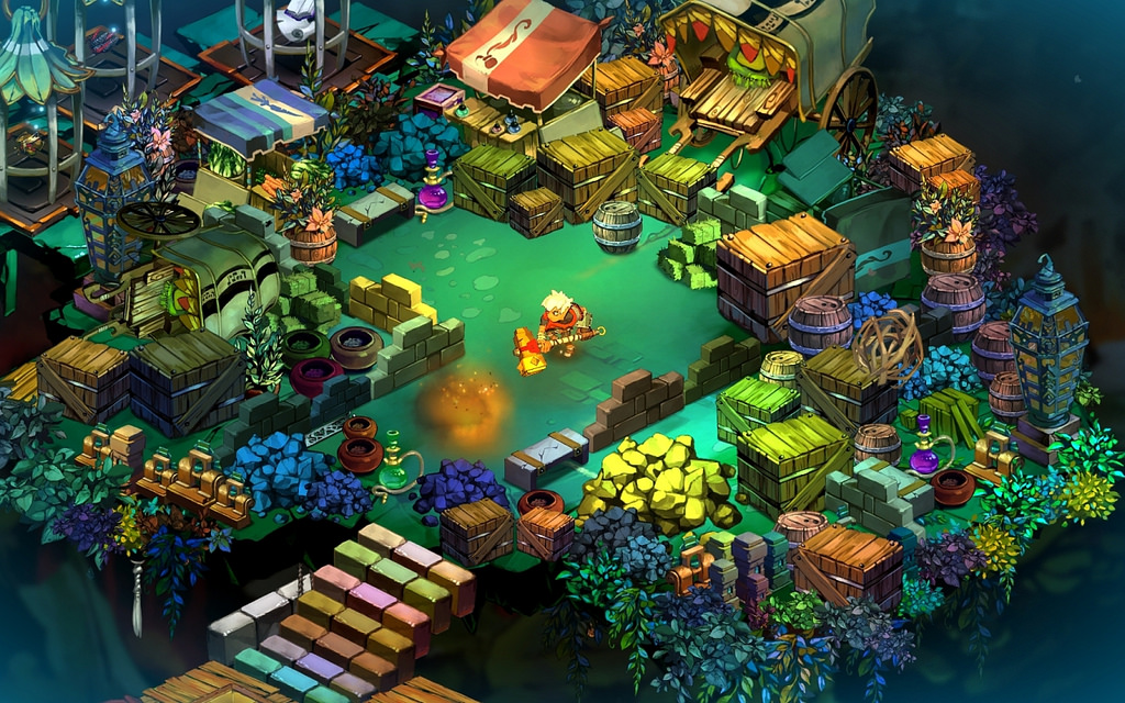 A peaceful, forested area in the video game Bastion