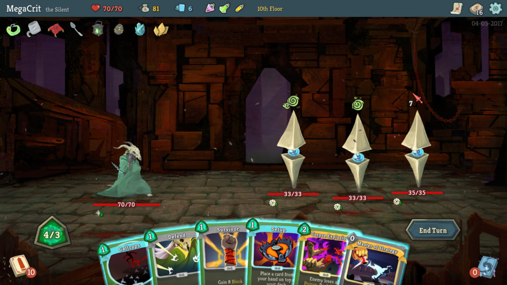 Fighting monsters in the video game Slay the Spire