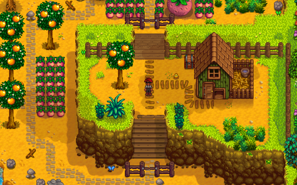 Image of a farm in Stardew Valley video game