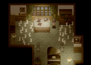 Rabbits in the bedroom of the video game To the Moon