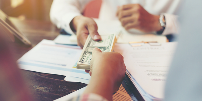 Bank Handing Customer Cash