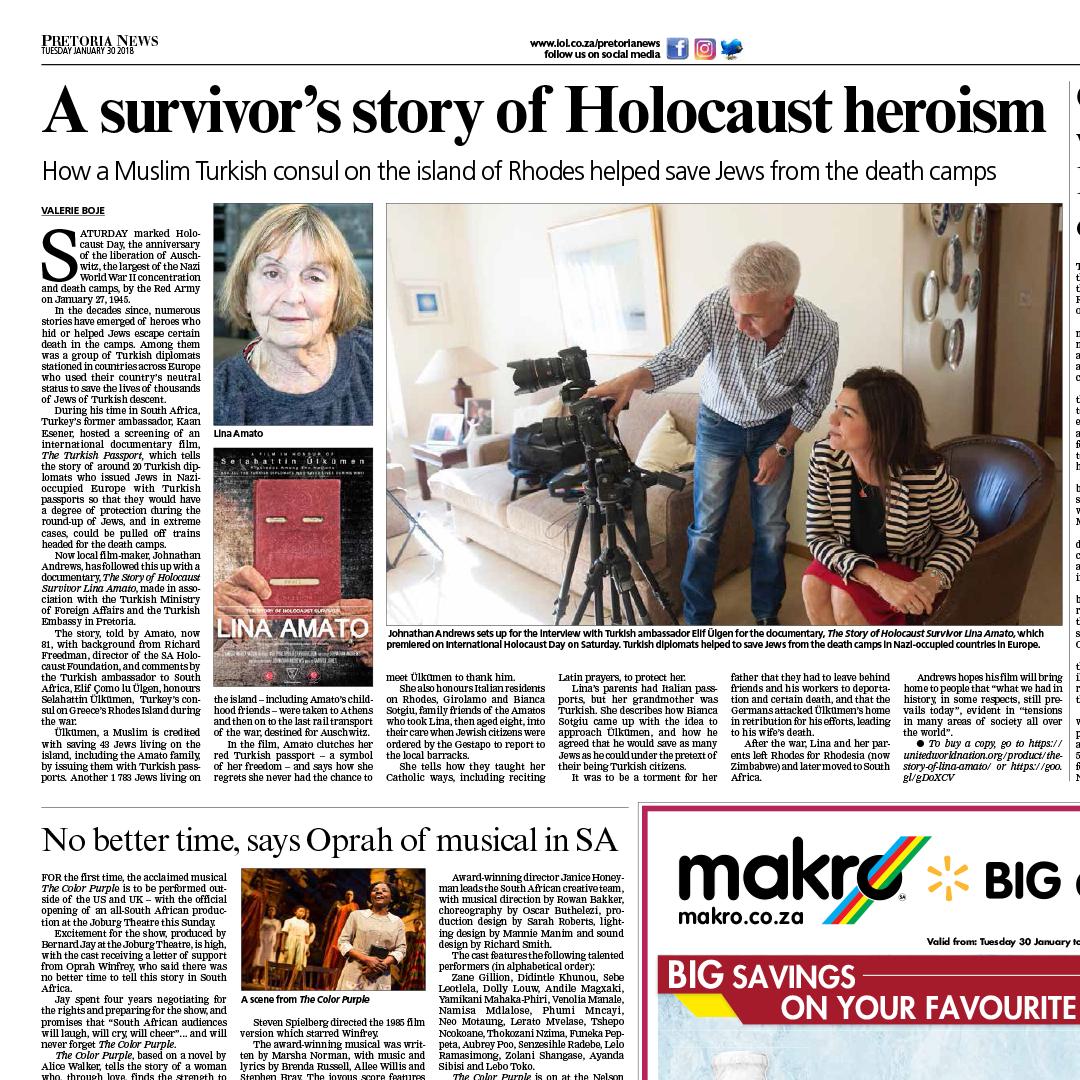 Johnathan Andrews Film in Pretoria News