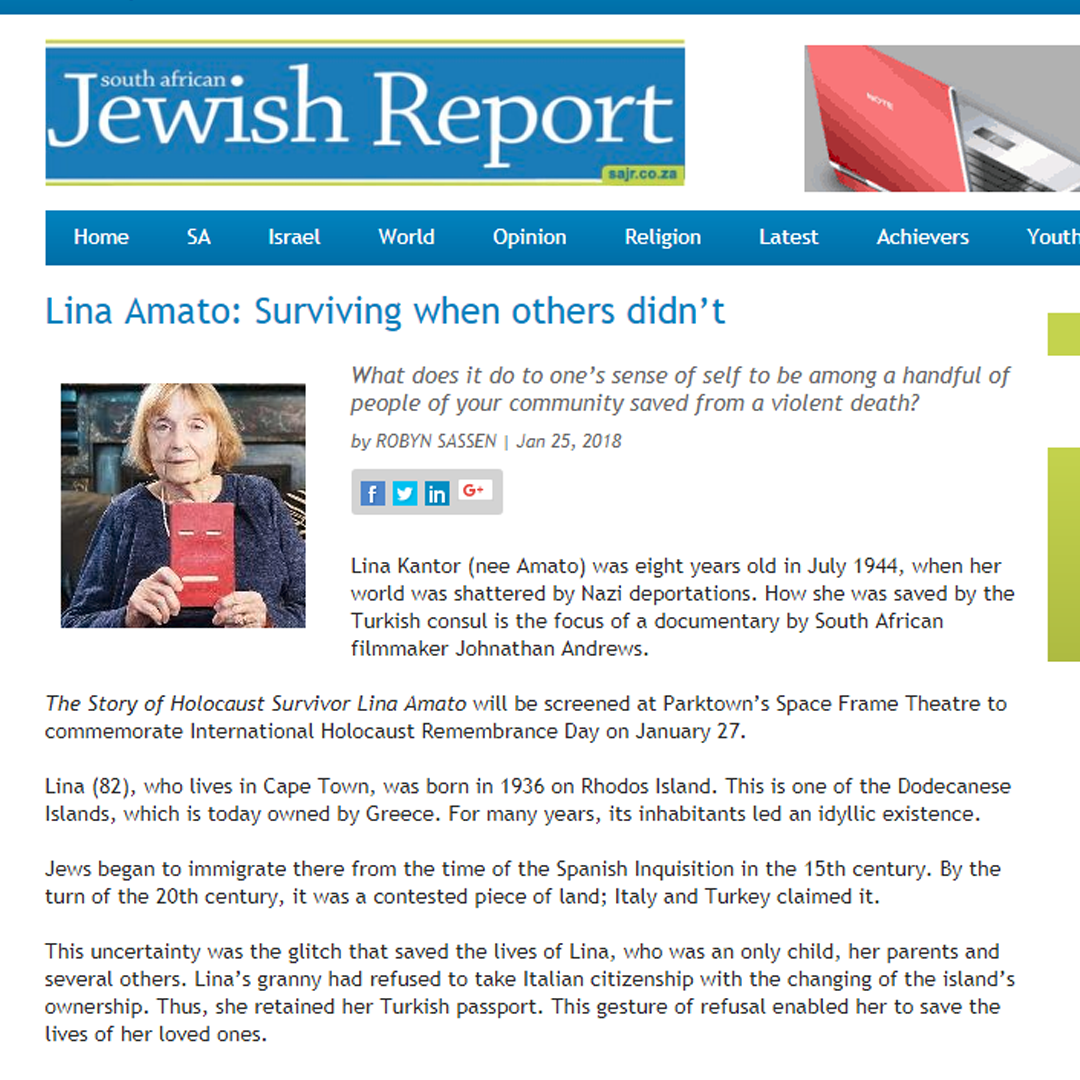 Johnathan Andrews Film in South African Jewish Report