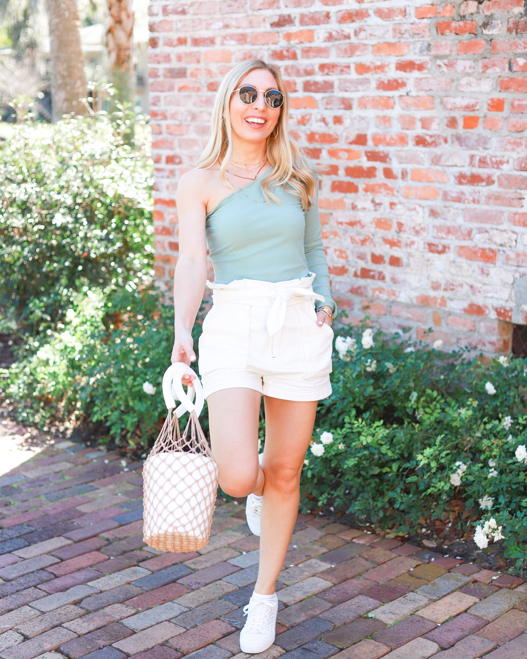 MINT TOP AND WHITE PAPER BAG SHORTS