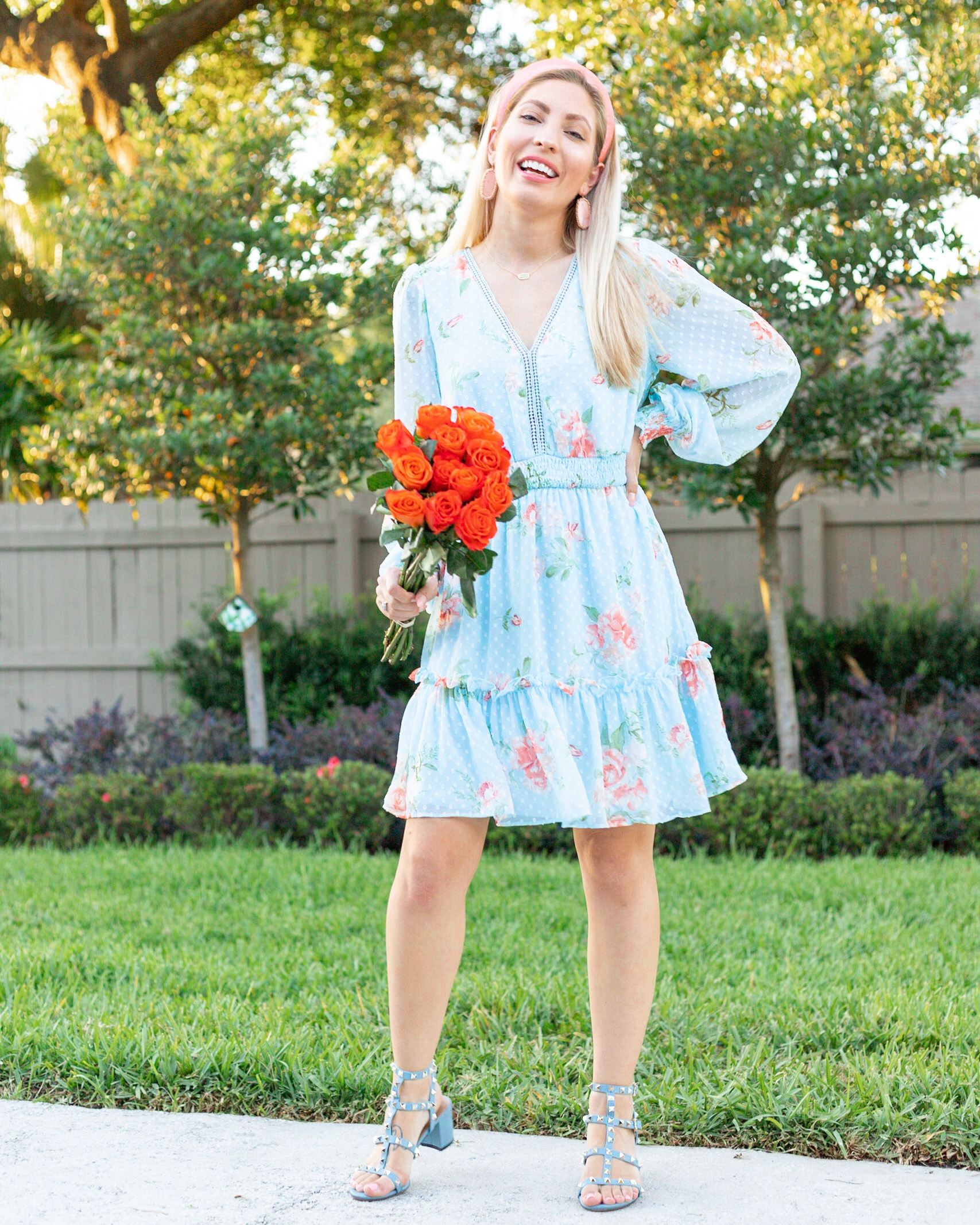 BLUE AND CORAL FLORAL DRESS