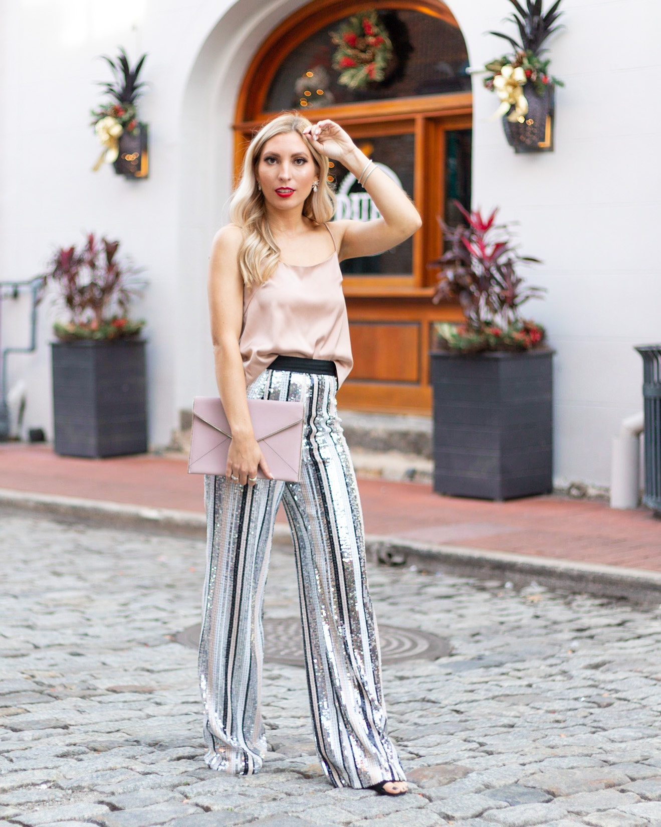 SATIN TOP AND SEQUIN PANTS