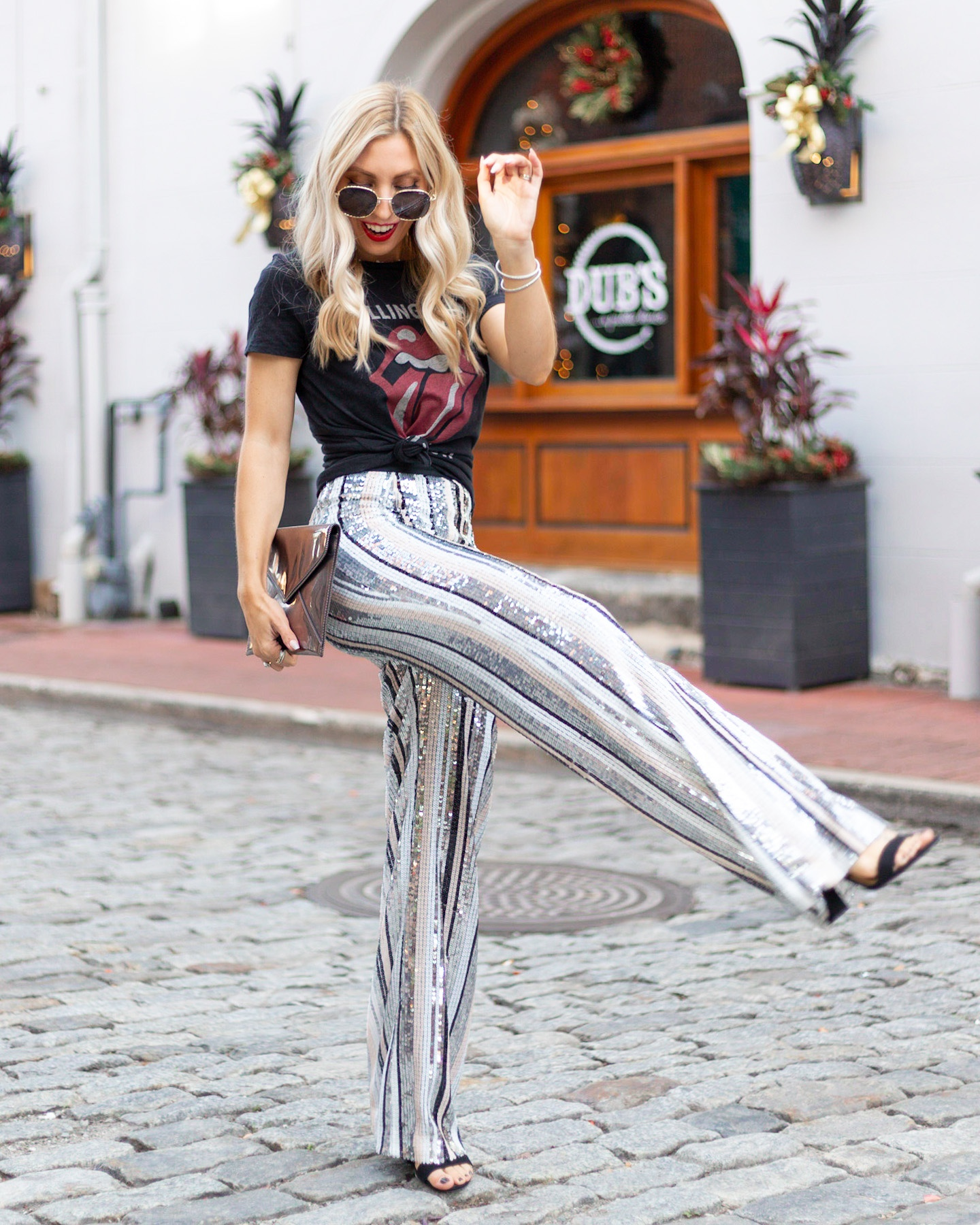 GRAPHIC TEE AND SEQUIN PANTS