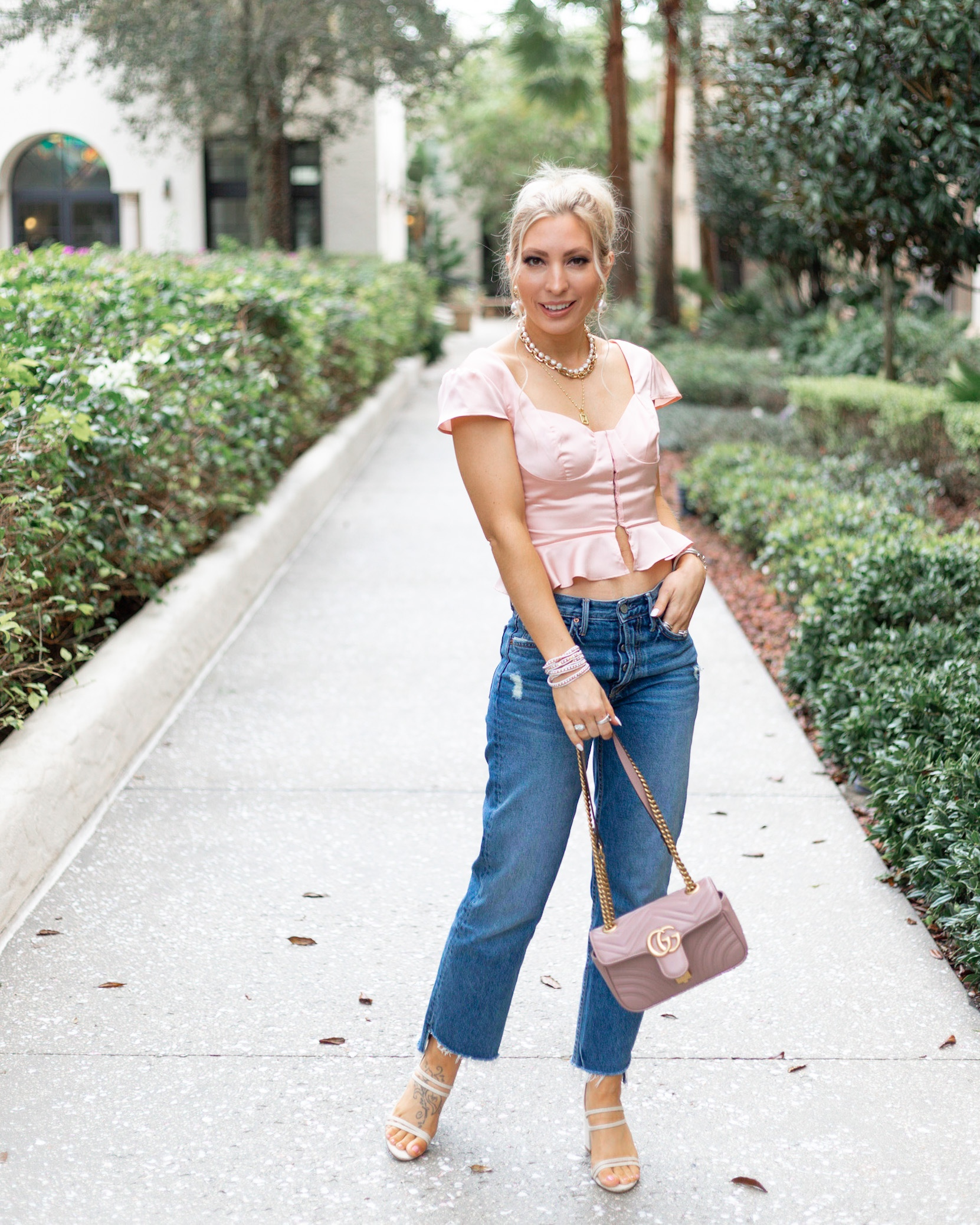 PINK SATIN TOP AND BOYFRIEND JEANS