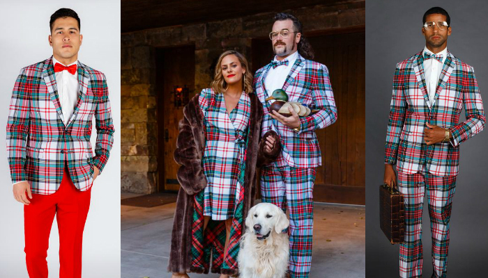Shinesty Suits for all Occasions White Christmas Plaid Suit