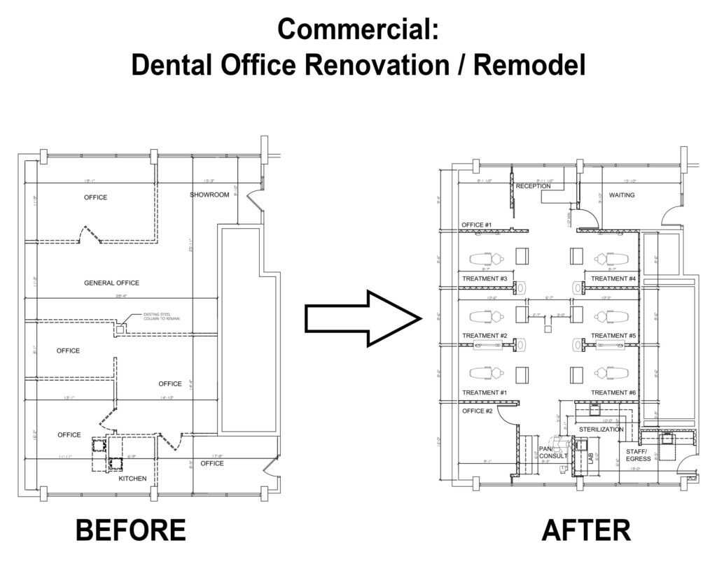 This image is the design documents of the Dental Office JP Architects, Ltd. Renovated