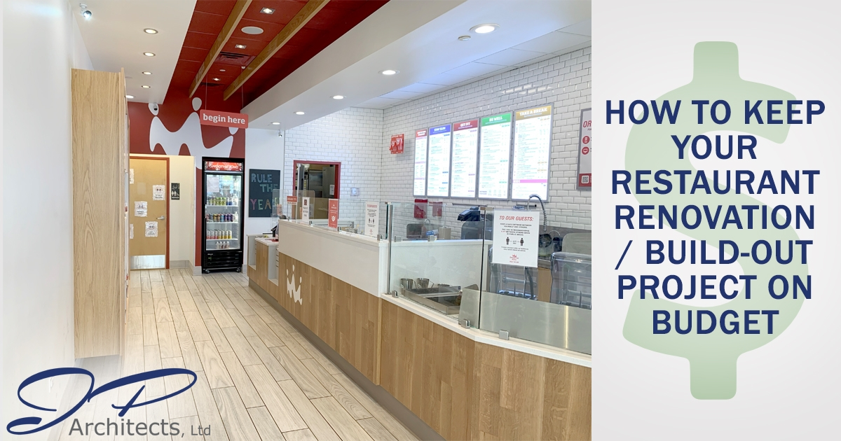 This is the cover image for our blog about how to keep your restaurant build-out / renovation on budget. It is an image of our build-out of a smoothie king. Click it to view the image.
