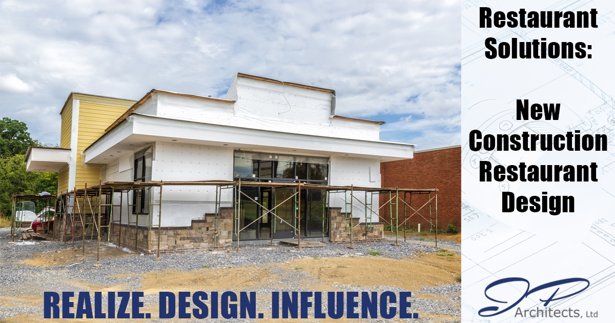 This is the cover image for our new construction restaurant design blog. This blog dives into the different elements of a new construction restaurant design.