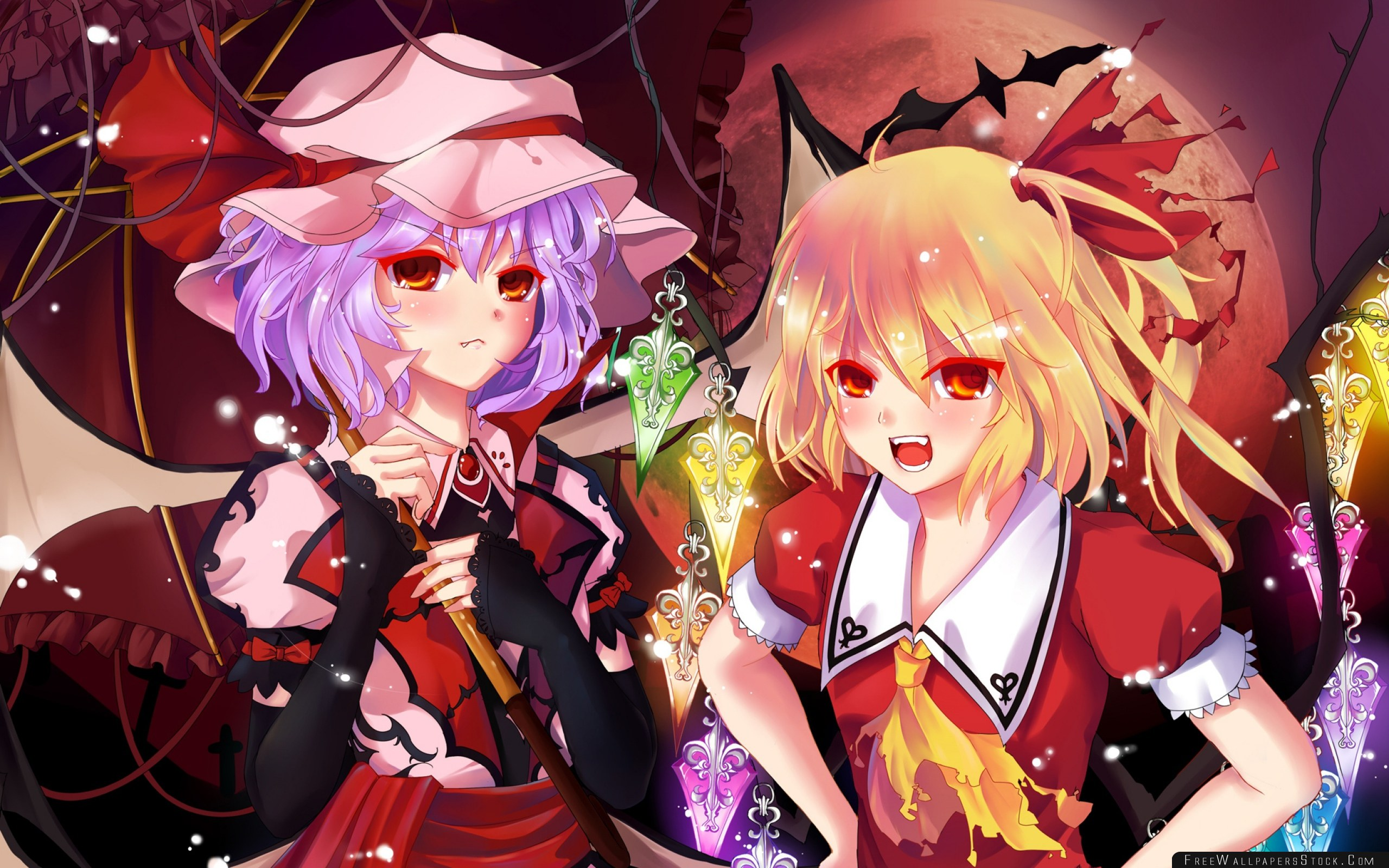 Download Free Wallpaper Anime Girls Creatures Night Moon