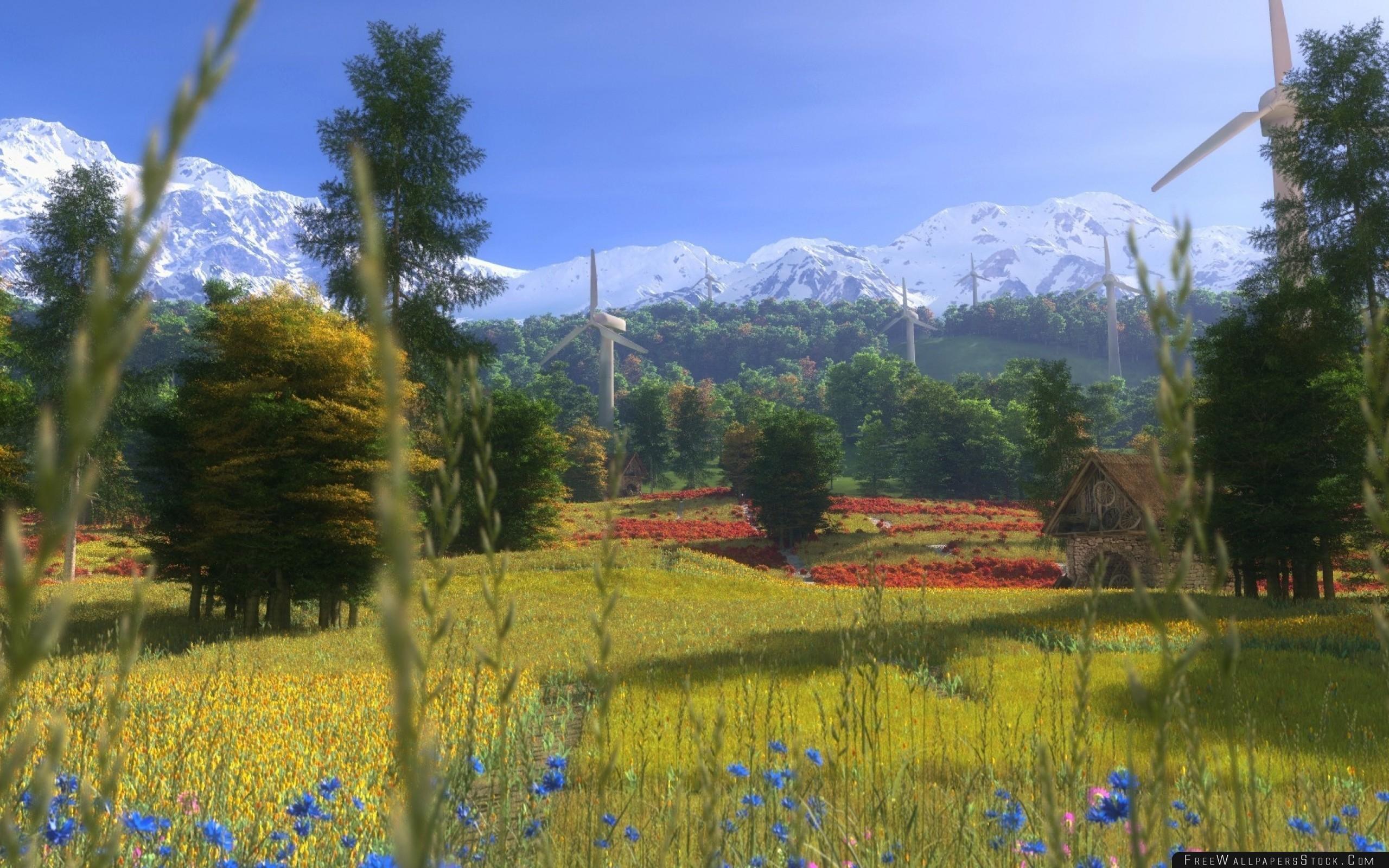 Download Free Wallpaper Windmills Flowers Trees Grass Art Home Summer Mountains