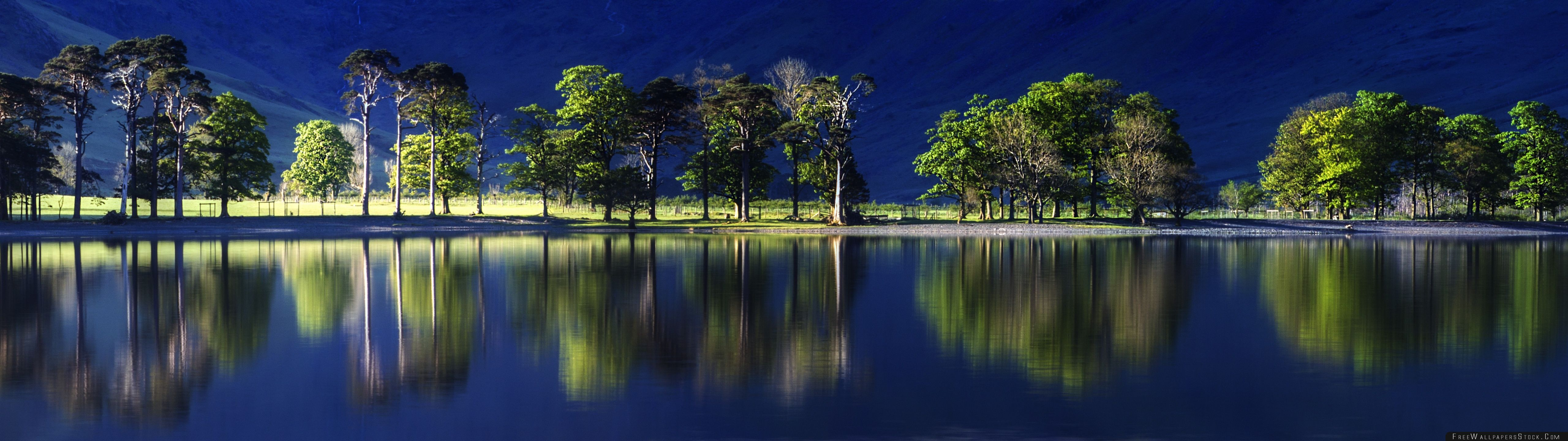 Download Free Wallpaper Beatiful Reflection Blue Water Green Trees