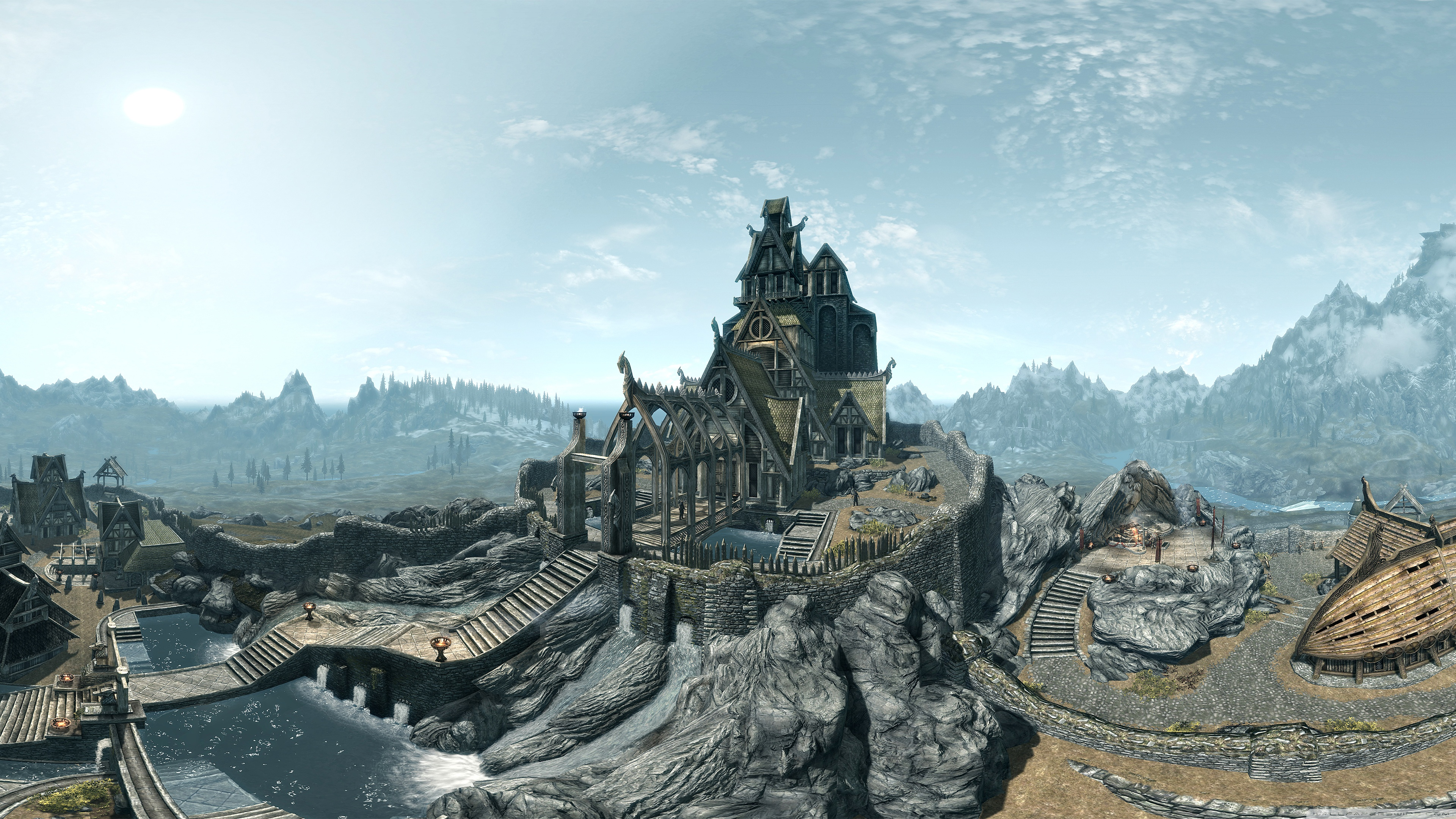 Download Free WallpaperWhiterun Birds Eye View The Elder Scrolls   Skyrim