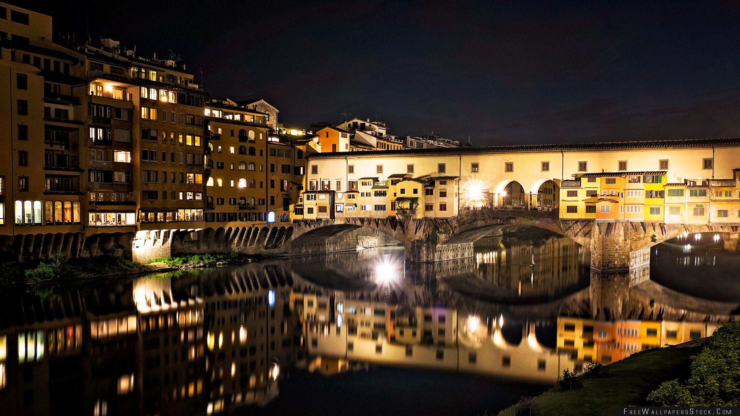 Download Free Wallpaper Ponte Vecchio   Night Florence Italy