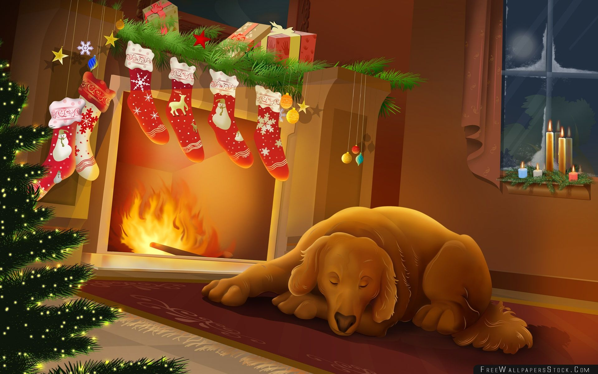 Download Free Wallpaper Warm Christmas Night