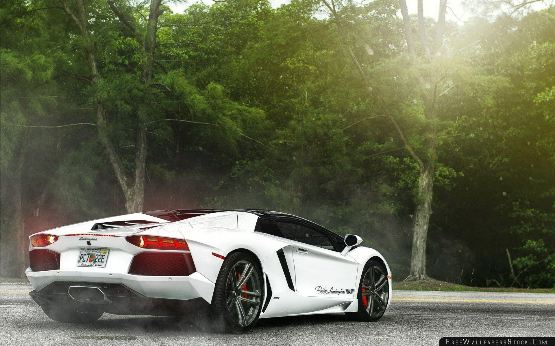 Download Free Wallpaper White Lamborghini Miami