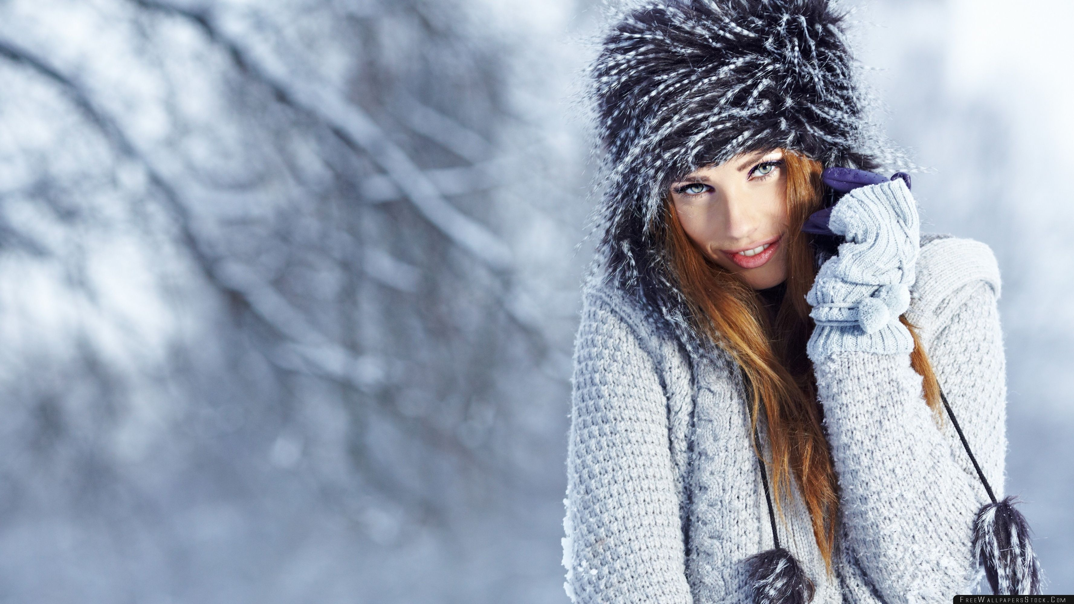Download Free Wallpaper Winter Girl Portrait