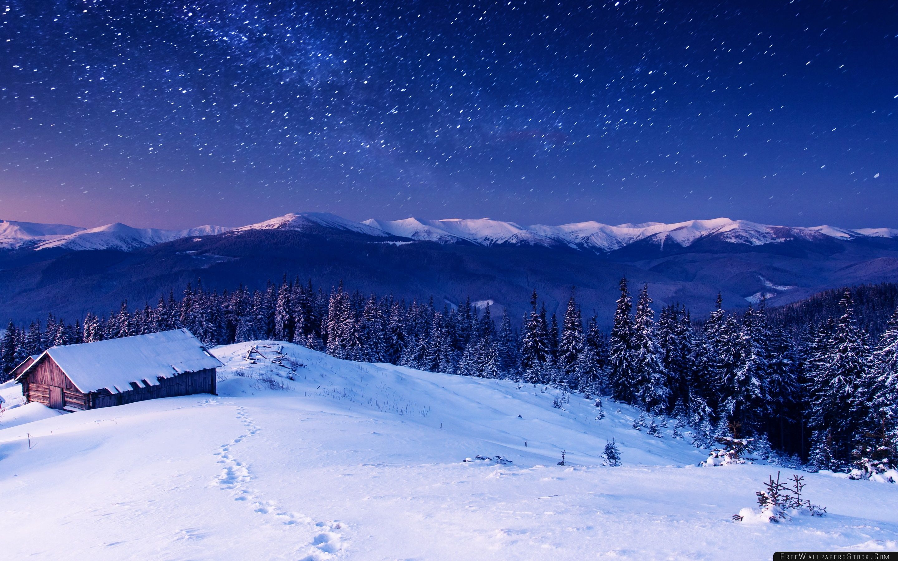 Download Free Wallpaper Wooden House Under Sky With Stars
