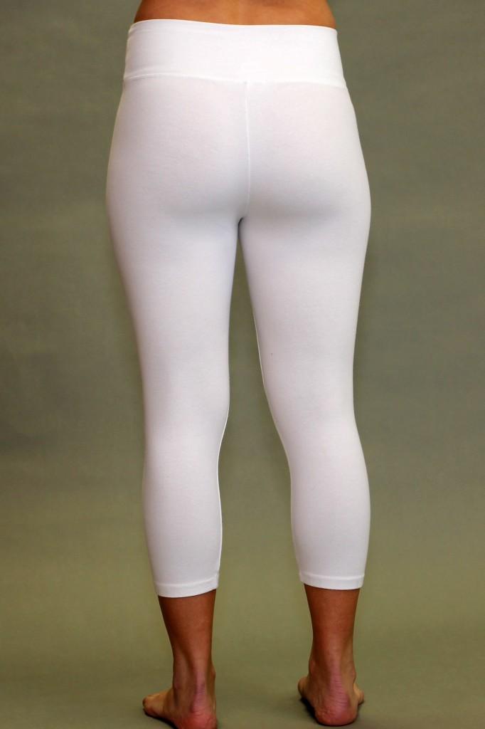 Organic Cotton Crop Yoga Legging - Kundalini White
