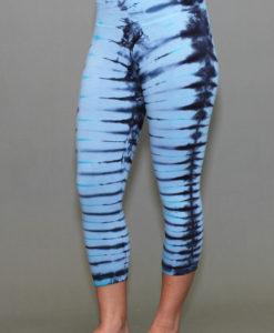 Organic Cotton Crop Yoga Legging - Serenity Blue/Black Tie-dye