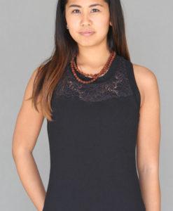 Organic Cotton Lace Yoke Tank with Inside Shelf Bra - Black by Blue Lotus Yogawear