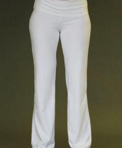 Organic Cotton Fold over Waistband Yoga Pant - Kundalini White by Blue Lotus Yogawear