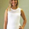 Organic Cotton Mesh Yoke Tank with Inside Shelf Bra - Kundalini White by Blue Lotus Yogawear
