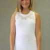 Organic Cotton Lace Yoke Tank with Inside Shelf Bra - Kundalini White by Blue Lotus Yogawear