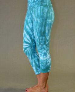 Organic Cotton Crop Yoga Legging - Jade Spiral Tie-dye