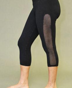 Mesh Cutout Crop Yoga Legging - Black
