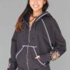 Hand-Painted Zip Front Fleece Hoodie - Mehndi Design by Blue Lotus Yogawear