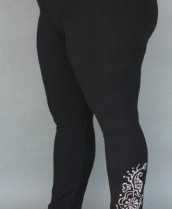 Organic Cotton Yoga Legging - Mehndi Hand-painted Design