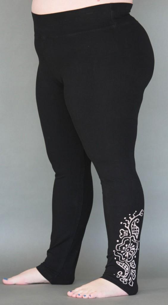 Organic Cotton Yoga Legging - Mehndi Hand-painted Design by Blue Lotus Yogawear