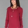 Ribbed Long Sleeve Tunic with Hand-painted Lotus Flower