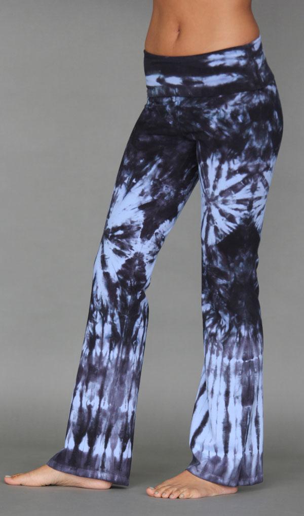 Organic Cotton Foldover Waist Yoga Pant - Serenity Blue Tie-dye by Blue Lotus Yogawear